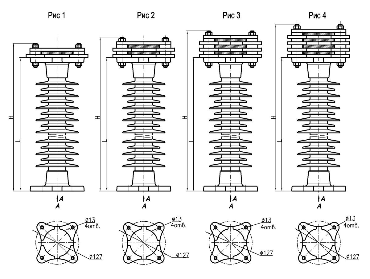 Типоразмеры опорных шинных изоляторов